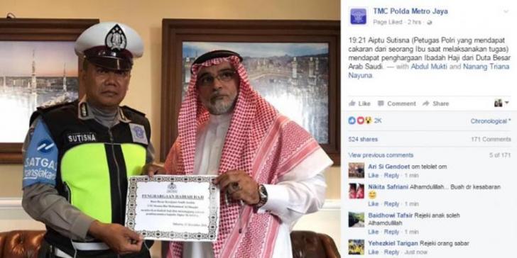 Pasca Dicakar Pegawai MA, Aiptu Sutisna Diganjar Hadiah Naik Haji Gratis
