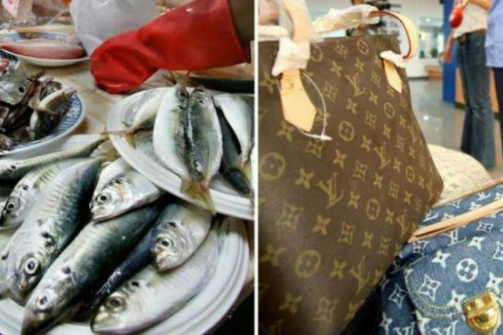 Tas Seharga Rp14 Juta Dijadikan untuk Bawa Ikan dari Pasar