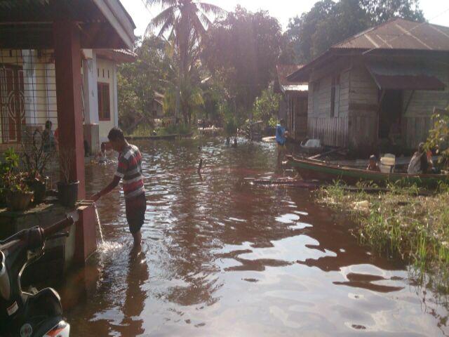 Banjir Rendam 7 Desa di Pelalawan Akses Jalan Darat Putus Total