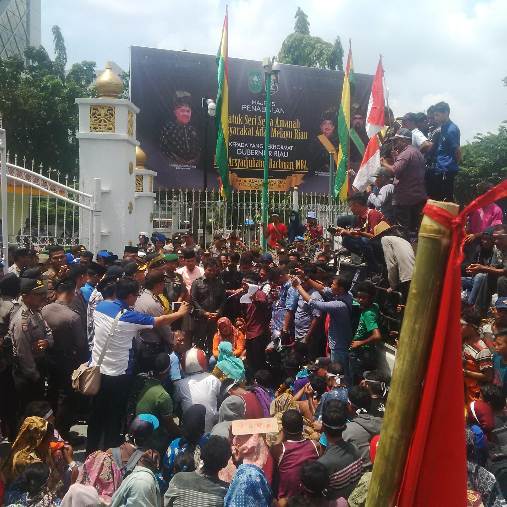 Tuntutan Tidak Dipenuhi, Masyarakat Suku Sakai Bertahan di Depan Kantor Gubernur Riau